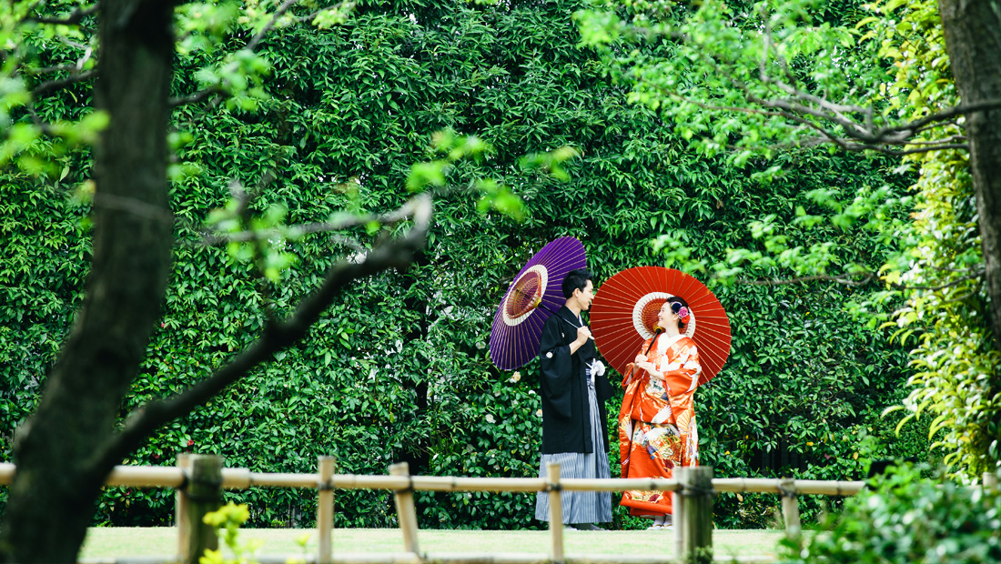 色打掛と羽織袴での前撮り、目白庭園