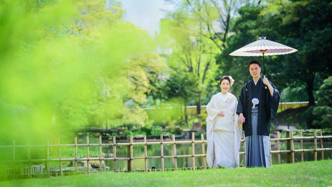 白無垢での前撮りは肥後細川庭園