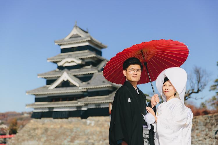 白無垢松本城結婚式長野レストランヒカリヤ写真スナップ撮影事例